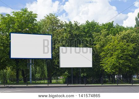 Mock up Billboards the road. Most realistic board for your advertisement.