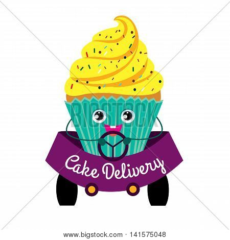 Cakes, delivery, coloured picture. Cake while driving. Production and delivery of cakes. Color flat illustration on white background. Vector.