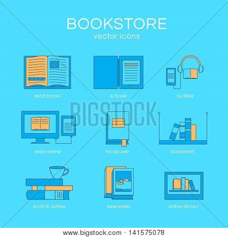Set of icons a bookstore. Vector collection of objects: e-book, book and coffee, bookshelf and library. Illustration of training and education. Template for design.