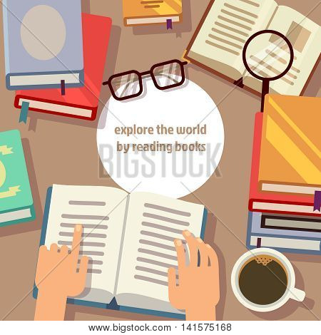 Books reading vector concept. Book for education and illustration work place with books and coffee