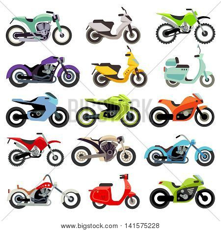 Classic motorcycle motorbike flat vector icons. Set of speed motorcycle, illustration set of motobike for transportation