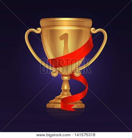 Sport winner gold trophy championship cup vector. Illustration of gold goblet or trophy prize for first place