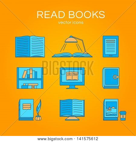 Set of icons of books. Vector collection of objects: e-book, book and coffee, bookshelf and library. Illustration of training and education. Design elements for logos and web.