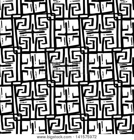 Seamless monochrome hand drawn pattern on background. Design for paper packaging or wrapping. Vector illustration. EPS
