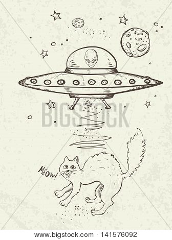 Fantastic doodle background with UFO abducts a cat. Vector illustration.