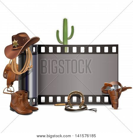 Vector Cowboy Film isolated on white background