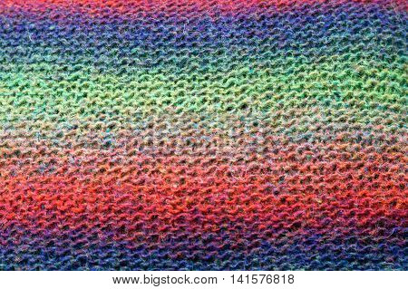 colorful stripes knitted wool background texture close-up