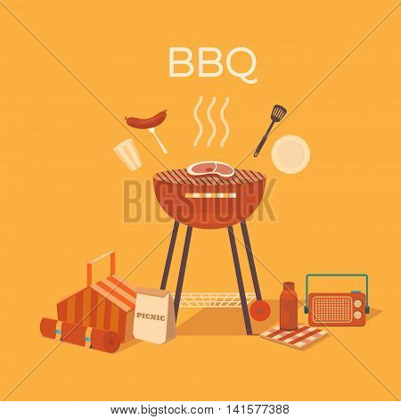 Vector illustration of a barbecue outdoors. Picnic set. Family weekend.  Collection of objects: bbq grill, basket, steak, plate, fork, sausage, glass. Rest in park.