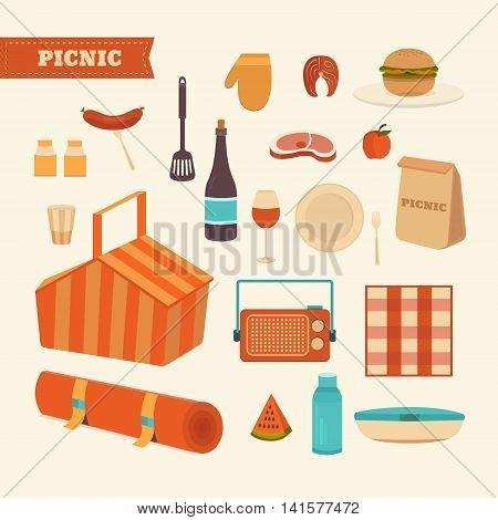 Vector set of summer picnic. Illustration barbecue outdoors. Food for a picnic. Collection of icons: basket, steak, fruits, sandwich, wine, dishes and others. Weekend in the park.