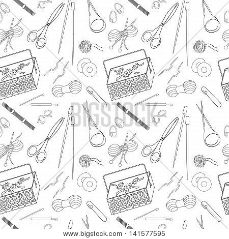 Seamless pattern of knitting and crafts icons. Knitting needles yarn thread crochet hooks basket. Background for use in design web site packing paper textile. Vector illustration.