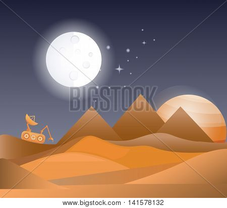 Vector illustration of a space landscape. Symbols of universe and cosmos. Concept of cosmic galaxy.