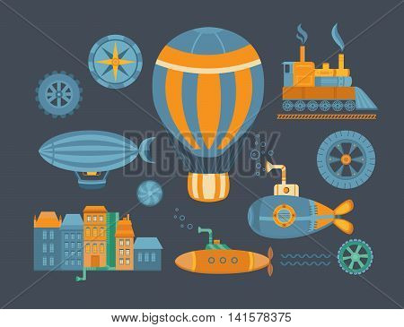 Set of objects steampunk. Vector collection of elements: balloon, submarine, airship, vintage train, city and other. Vintage background for banners, cards, postcards, web pages, covers and posters.