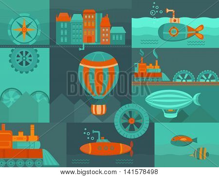 Vector background steampunk. Set of objects: balloon, submarine, airship, vintage train, city and other. Vintage template for banners, cards, postcards, web pages, covers and posters.