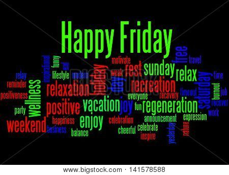 Happy Friday, Word Cloud Concept 2