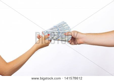 Currency Giving Human Hand . economy concept, allocation of money
