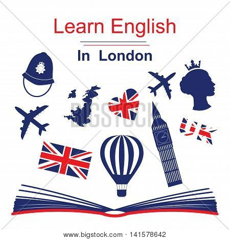 Learn english in London poster, banner with icons of England. Vector illustration isolated on white