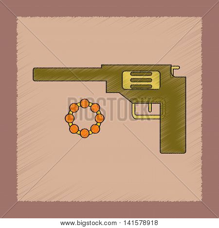 flat shading style icon Kids toy pistol, vector