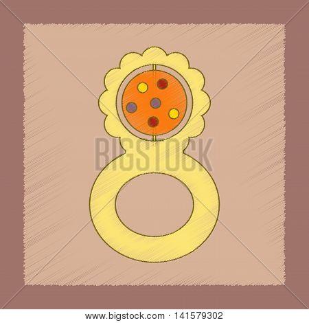 flat shading style icon Kids toy rattle