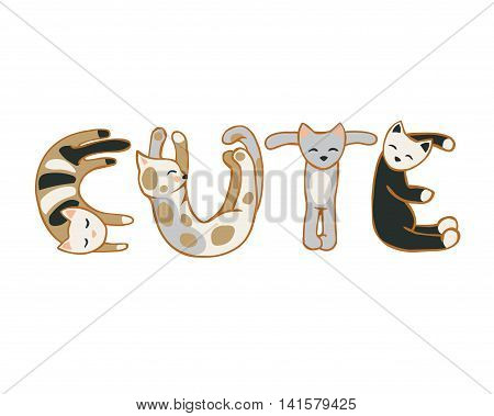 Vector flat inscription of cats letters: cute