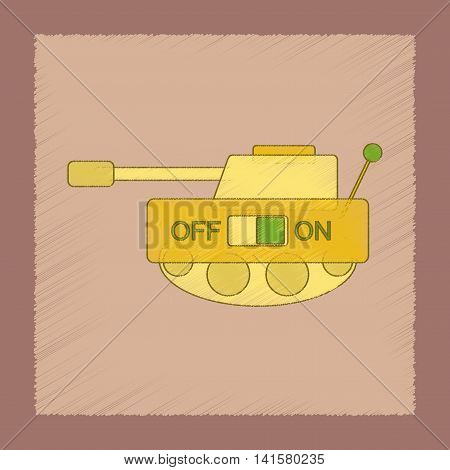 flat shading style icon Kids toy tank, vector