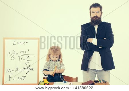Cute Child Boy With Professor