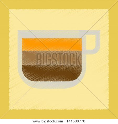 flat shading style icon coffee cup latte macchiato, vector
