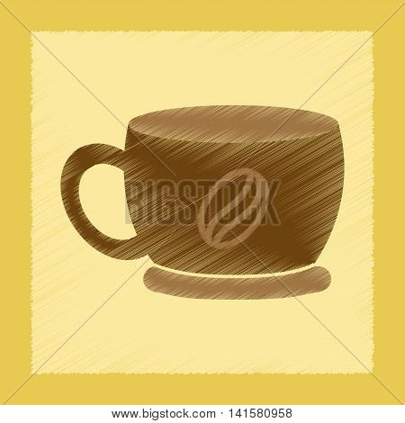 flat shading style icon coffee cup flavor, vector