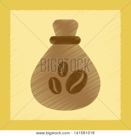 flat shading style icon bag roasted coffee, vector