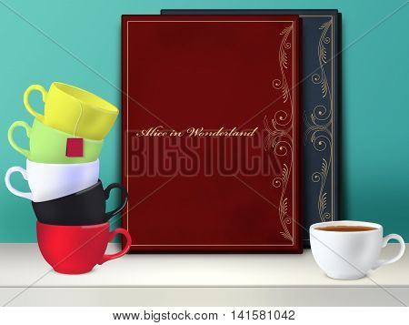 Alice in Wonderland book. Mad tea party. Mockup