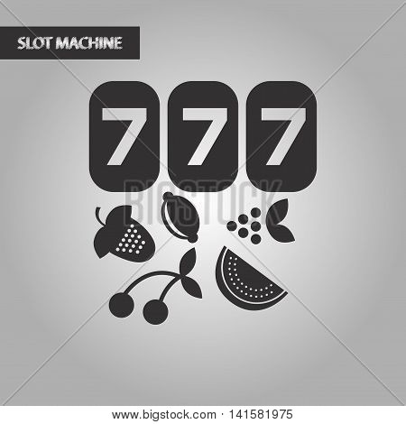 black and white style poker jackpot Lucky seven, vector