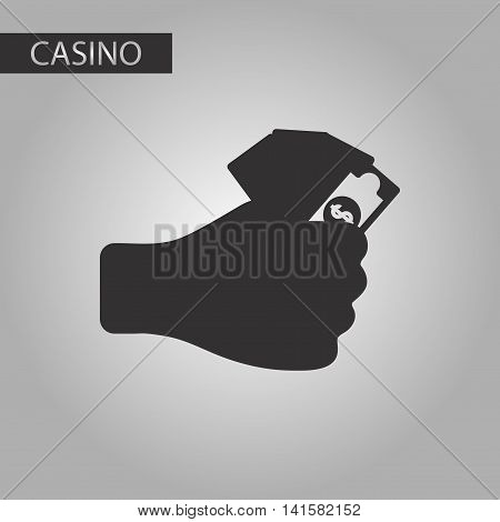 black and white style poker money in hand, vector