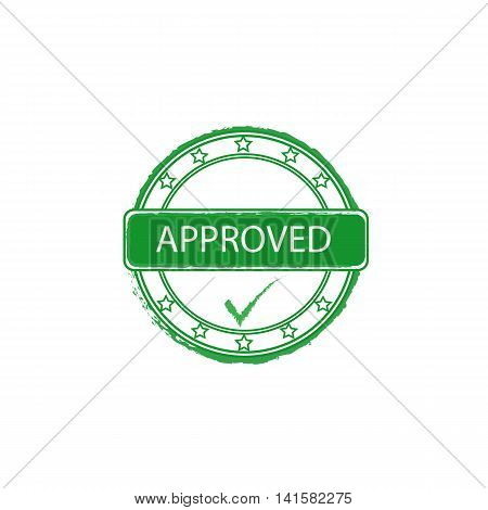 approved grunge vector stamp with tick sign