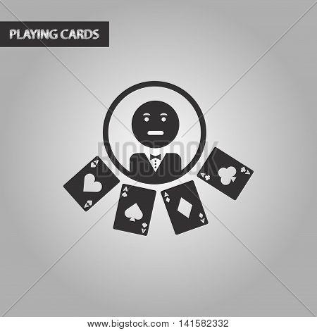 black and white style poker casino dealer, vector