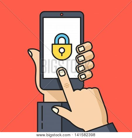 Hand holding smartphone with lock icon. Unlock screen, privacy, phone protection, password concepts. Thin line flat design. Vector illustration