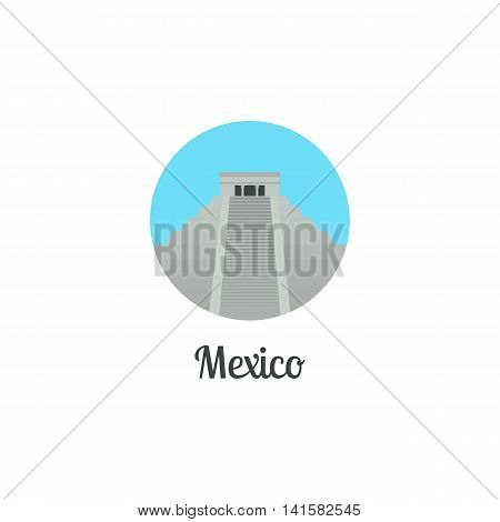Mexico landmark isolated round icon. Vector illustration