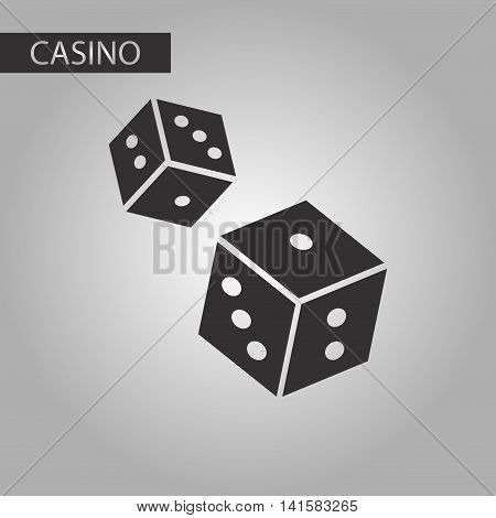 black and white style poker dice lucky, vector