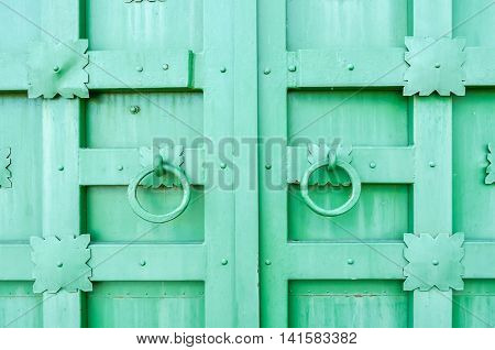 Metal green aged textured door with rings door handles and metal details in form of stylized flowers. Metal architecture background.