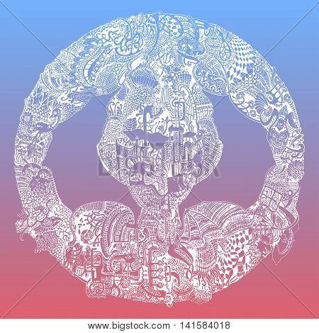 Abstract vector tribal ethnic mandala on 2016 Pantone color gradient mix