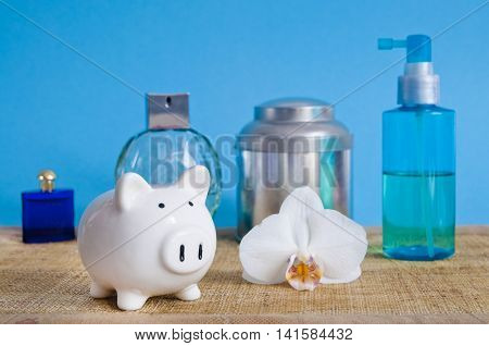 Saving on cosmetics - set with piggy bank on blue background