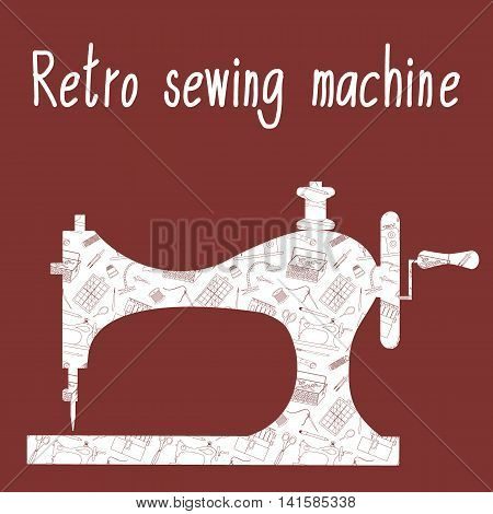 Retro sewing machine with the background of the sewing tools and tailoring accessories. Vector illustration.