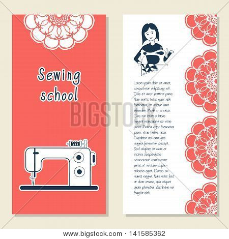 Cards template for sewing school tailoring shop shop sewing machines. Icon sewing girl. Vector illustration with front and back side. Set of template for poster banner magazine presentation logo
