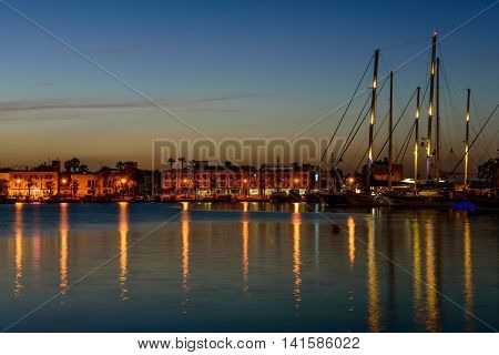 Kos island, Greece - May 13, 2016: The main port of Kos island in May 13, 2016, Kos island, Dodecanese, Greece.
