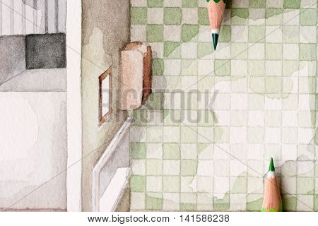 Pair of opposing wooden pencil tips over watercolor painting of bathroom tiling pattern
