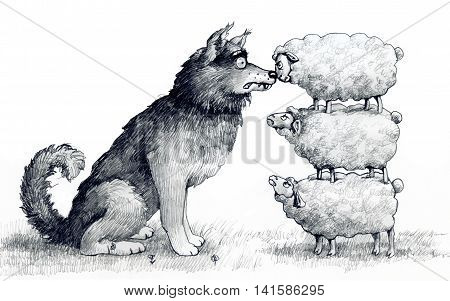 sheep on one another are at the height of a wolf and scare