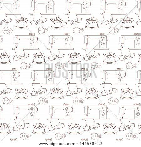 Seamless pattern of sewing tools icons. The brown line on a white. The sewing machine and tailor accessories. Background for use in design web site packing textile. Vector illustration.