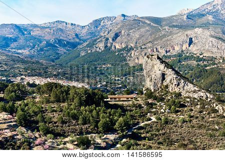 Guadalest valley with a Rock of Alcala. Costa Blanca Province of Alicante. Spain