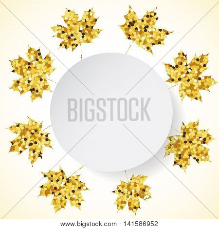 Happy Thanksgiving Day background with golden maple leaves