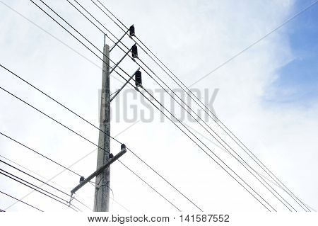 electric pole ,Electricity pylons carry power lines and cable lines to every home, every corner of the city.