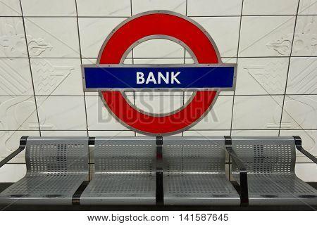 LONDON, UNITED KINGDOM - SEPTMBER 12 2015: Bank Metro station sign in London underground platform
