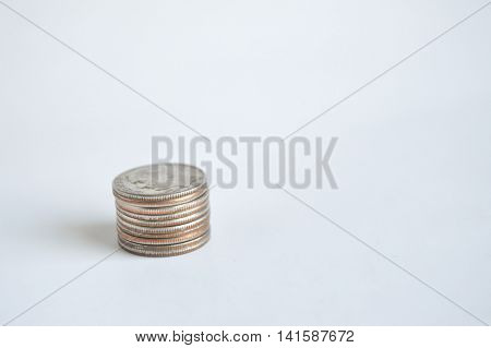 Single stack of U.S. dimes lower left